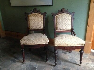 Pair of Victorian Walnut Carved Eastlake Parlor Side Chairs