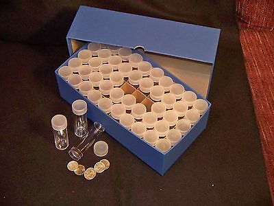 Storage Box Dime Tube WITH 50 Round Clear Tubes-Roosevelt Mercury Barber