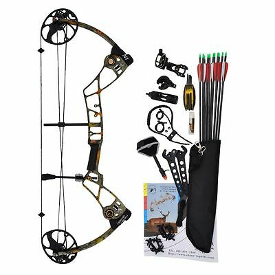 New 15-70Lb Compound Bow & Arrow Hunting Target Archery Cnc Milling Ready Tohunt