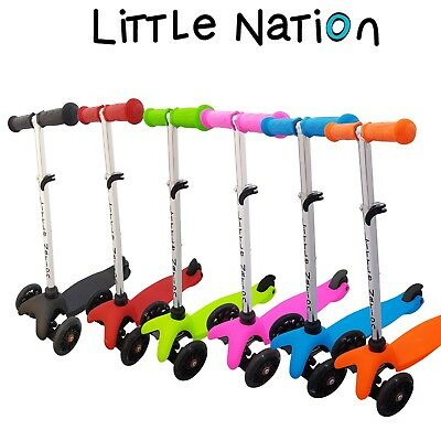 New Little Nation Kids 3 wheel Scooter. Childrens Adjustable height Scooter