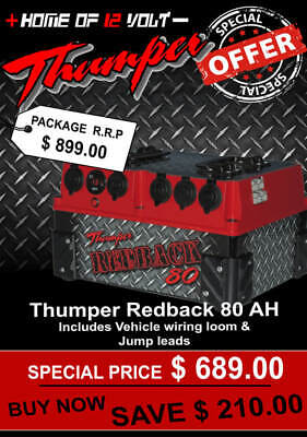 Thumper Redback 80 AH AGM Pack Portable dual battery system USB ENGEL CIGARETTE