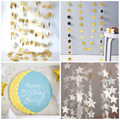 400CM Hanging Star Paper Garlands String Chain Christmas Decorations For Home