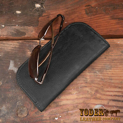 Black Genuine Bison / Buffalo Leather Soft Eye Glasses or Sunglasses Case
