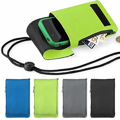 Mobile Smart Cell Phone Case Money Belt Neck Strap Zip Cards Holder Pouch Wallet