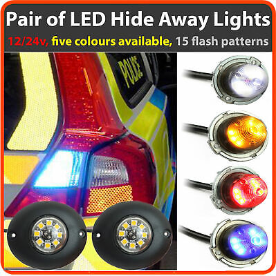 12v 24v Flashing LED HIDE AWAY LIGHTS, Light Bar Recovery Strobe Amber beacon