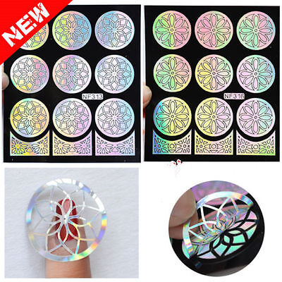 3D Nail Art Tip Vinyl Hollow Stencil Guide Decal Manicure Stickers DIY