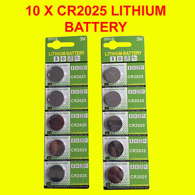 10 X Genuine CR2025 3V Lithium Batteries Button/Coin Cells Batteries LONG EXPIRY