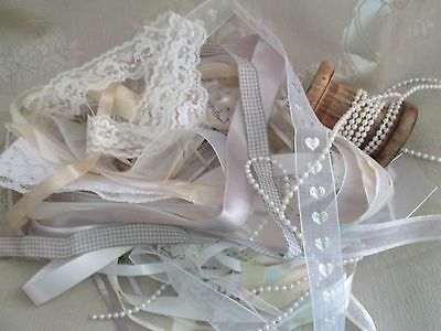 Ribbon, Lace & Pearls 20 Metres Of Assorted Delicate Whites, Silvers & Grey
