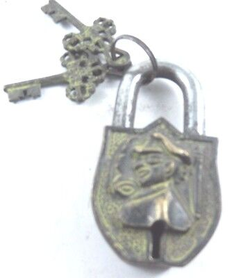 Decorative Vintage Antique Style Handmade Brass Lock & Iron Pad Lock With Key