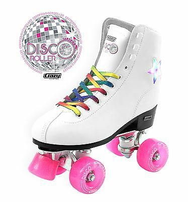Crazy DISCO ROLLER LED Flashing Roller Skates, White, NEW Rollerskates Classic