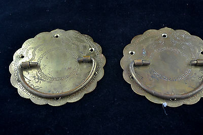 Pair of 5 inch Vintage Ornate Brass Door Pulls