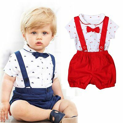 2PCS Kids Baby Boy Toddler Romper T-shirt+Bib Pants Overalls Clothes Outfits Set