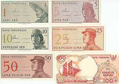INDONESIA UNCIRCULATED BANKNOTES -6 different banknotes