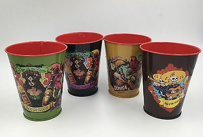Set of 4 Day of The Dead Halloween Metal Cups Plastic Inserts - Olmeca Tequila