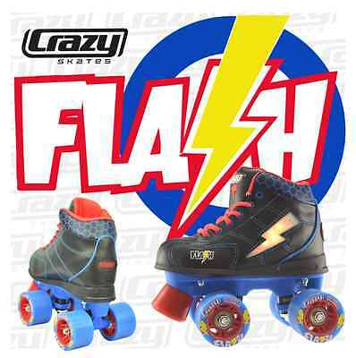 Crazy FLASH - LED LIGHT UP Roller Skates, Black/Blue/Red, Speed Rollerskates NEW
