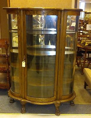 5-shelf Oak Display Cabinet. Antique. Bowed Curved Glass Front. Claw Feet.
