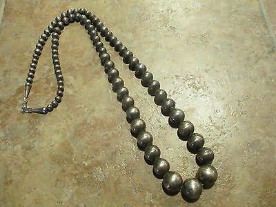 """VERY OLD Navajo Graduated Sterling Silver PEARL Bead Necklace on Foxtail   30.5"""""""