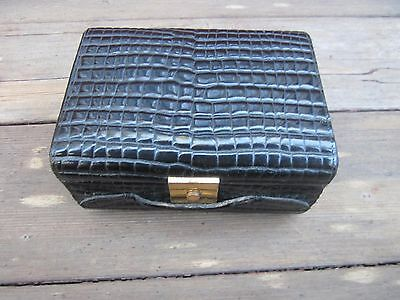 Vintage Jewelry Box ROSENFELD IMPORTS Italy Black Stamped Leather & Red Inside!!