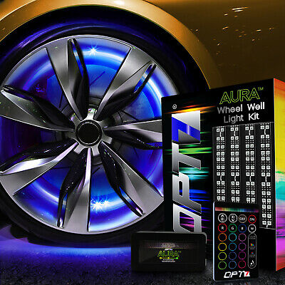 """All-Color Wheel Well Double Row Light Kit ¦ 4pc  RGB Accent LED Strips ¦ 20"""" Rim"""