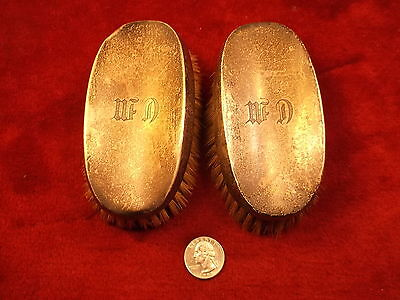 #6 of 6, RARE PAIR OF MATCHING VTG ANTIQUE STERLING SILVER MONOGRAMMED BRUSHES