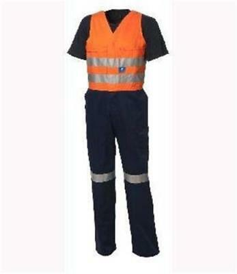 BNWT Worksense action back Hi Vis overall 3M reflective tape 77 84 87 89 94 107