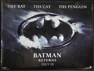BATMAN RETURNS (1992) Original TEASER Quad Cinema Poster TIM BURTON Catwoman