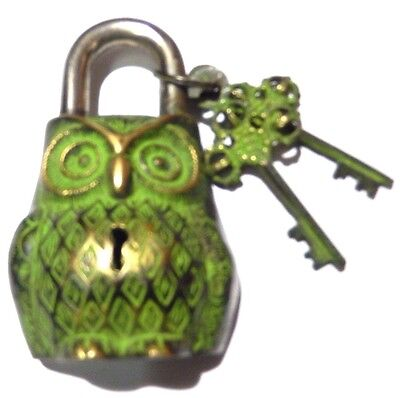 Brass Handcrafted Antique Vintage Replica  Owl Unique Shape Padlock With Keys