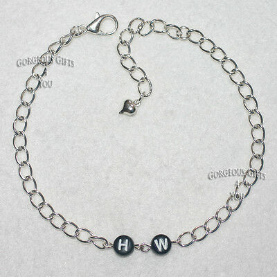 NEW Sexy Fun Chain Link HW = Hotwife Heart Charm Anklet / Ankle Bracelet Gift