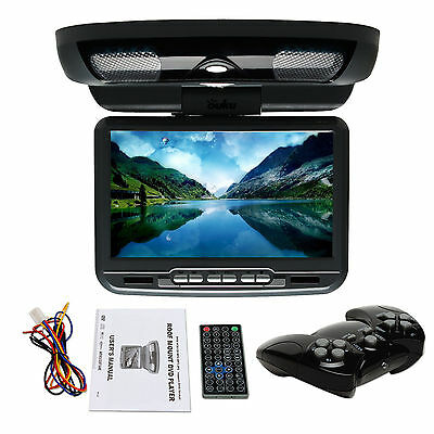 "Black 9"" HD LCD Flip Down Roof Mount In Car Overhead Monitor DVD Player USB IR y"
