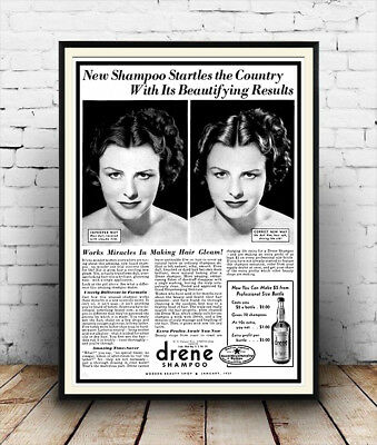 Wall art. Vintage Hair care advert Reproduction poster Lorraine hair nets