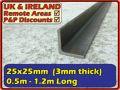 "Mild Steel Angle (iron L section profile) | 25x25mm (1x1"") 25mm 3mm 