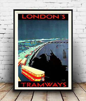 London Tramways : Vintage Railway travel advertising , Repro poster, Wall art.