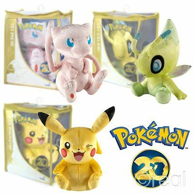 "New Pokemon 8"" 20th Anniversary Celebi Pikachu Or Mew Plush Soft Toy Official"