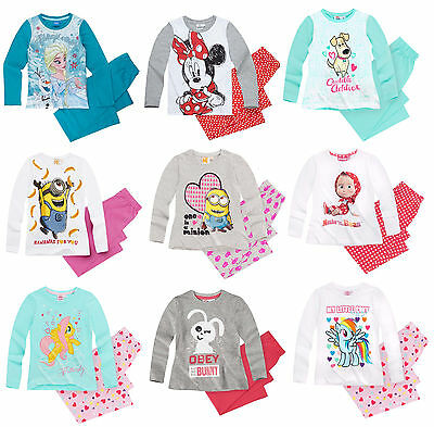 Girls Kids Official Licensed Disney Various Character Long Sleeve Pyjamas PJs