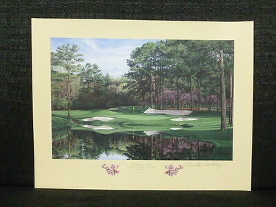 Linda Hartough Signed 16th Hole Redbud Augusta National Masters Golf Lithograph
