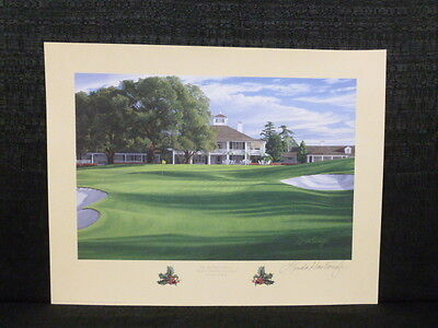 Linda Hartough Signed 18th Hole Holly Augusta National Masters Golf Lithograph