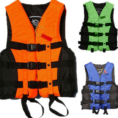 Polyester Adult Life Jacket Universal Swimming Boating Ski Vest+Whistle New Best