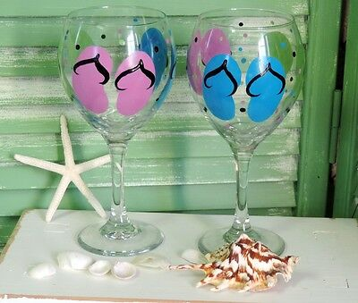 Large Hand Painted Flip Flop Wine Glasses, 20 Ounce Summer Gifts, Summer Decor