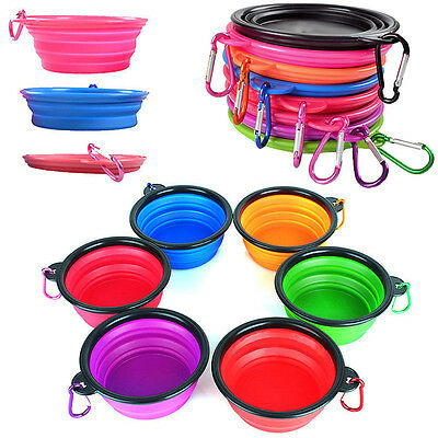Silicone Foldable Pet Dog Cat Feeding Bowl Travel collaspible Water Dish Feeder