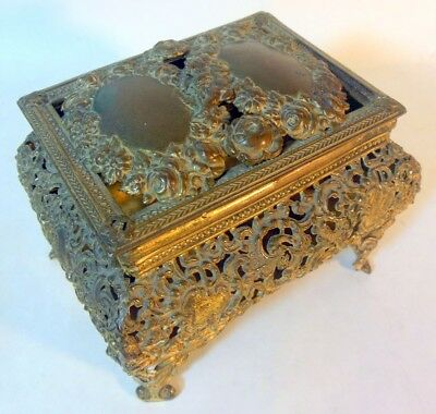Antique French Trinket Jewelry Box Gilt Brass Ormolu napoleon III Rococo Cherub