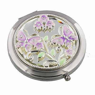 Compact Mirror Silver Plated Butterfly & Flowers Wirework 2 Mirrors Engraved FOC