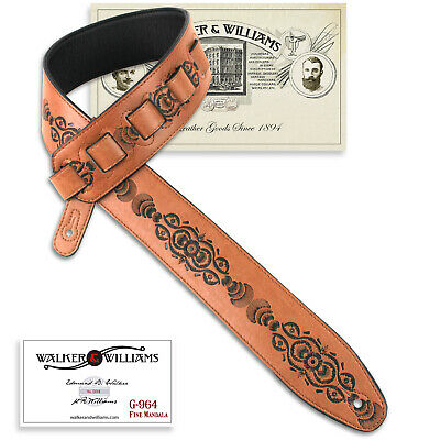 Walker & Williams G-964 Saddle Tan Tooled Padded Guitar Strap w/Glove Leather