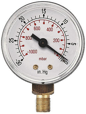 Vacuum Gauge 50mm -0VAC/1- Bar & -30 Hg 1/4 BSPT Male Bottom connection 253