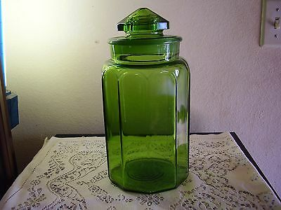 L E Smith Glass Green Paneled Flour Canister With Ground Lid