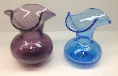 Vintage CRACKLE GLASS Small Vases with Fluted Tops. Lot of 2- amethyst + lt. blu