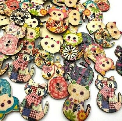 """Lot of 10 SITTING CAT 2-hole Wooden Buttons 1-1/8"""" x 7/8"""" (30mm) Crafts (5701)"""