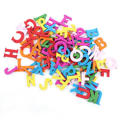 100pcs/lot Letters Mix Shape Many Color Wooden Pattern Wood Sewing Buttons