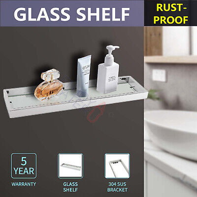 Wall Mounted Glass Shelf Silver Stainless Steel 522mm Bathroom Accessory Storage