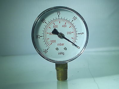 Vacuum Gauges -0-1000mBar- 30 Hg BSPT 100mm (4Inch) & 63mm Male Bottom conn