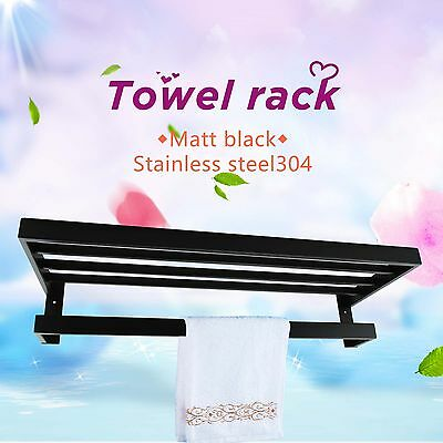 600mm Double Wall Mount Bathroom Towel Rail Holder Storage Rack Shelf Black Bar